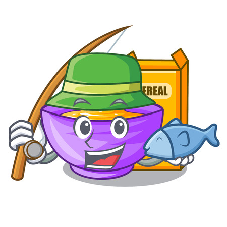 Fishing cereal box in the shape mascot vector illustration