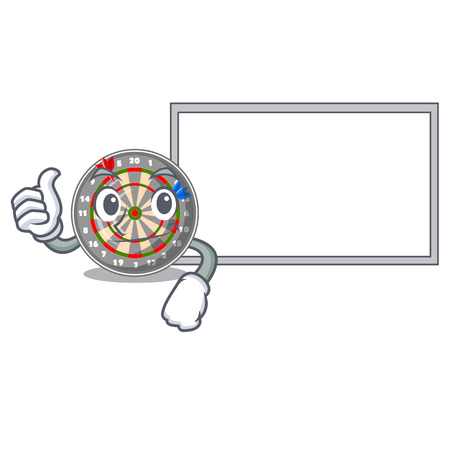 Thumbs up with board dartboard stuck to the cartoon wall vector illustration