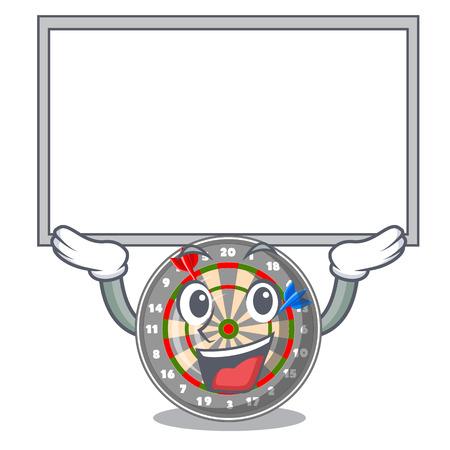Up board dartboard stuck to the cartoon wall vector illustration