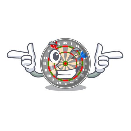 Wink dartboard in the shape of mascot vetor illustration