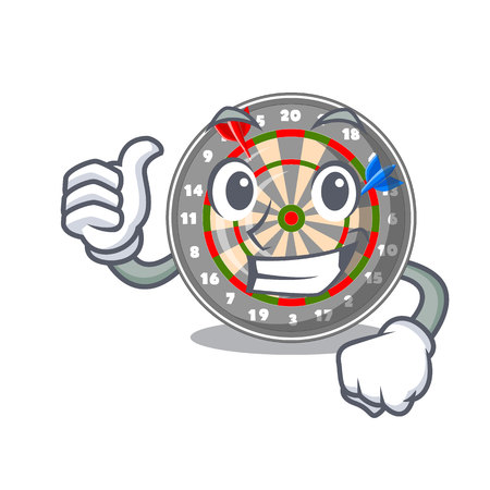Thumbs up dartboard in the shape of mascot vetor illustration
