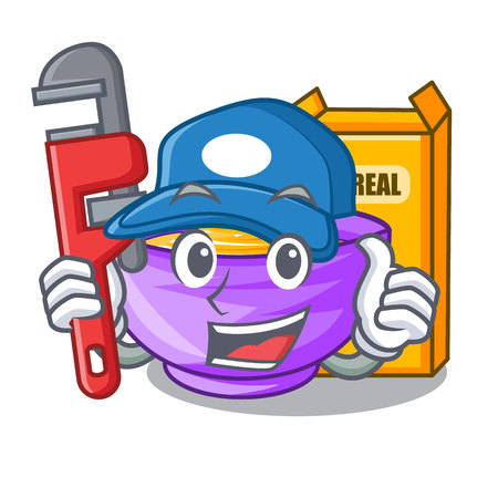 Plumber cereal box isolated with the cartoons vector illustration