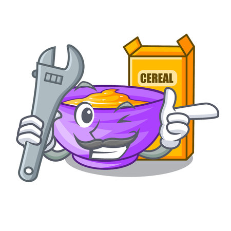 Mechanic cereal box isolated with the cartoons vector illustration