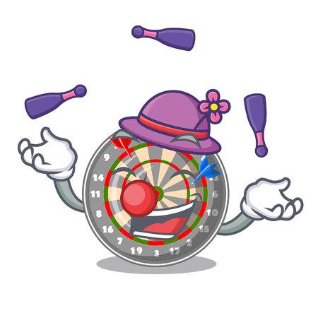 Juggling cartoon dartcoard next to wooden table vector illustration Ilustración de vector