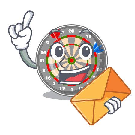 With envelope dartboard in the shape of mascot vetor illustration Ilustração