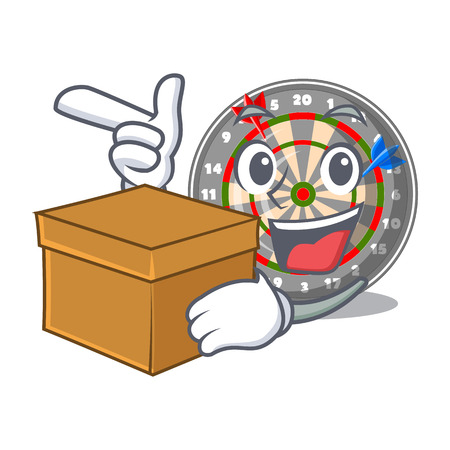 With box dartboard in the shape of mascot vetor illustration