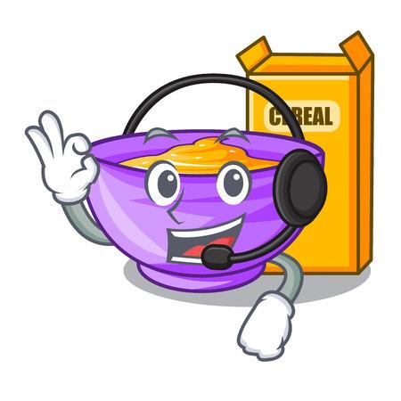 With headphone cereal box isolated with the cartoons vector illustration Illusztráció