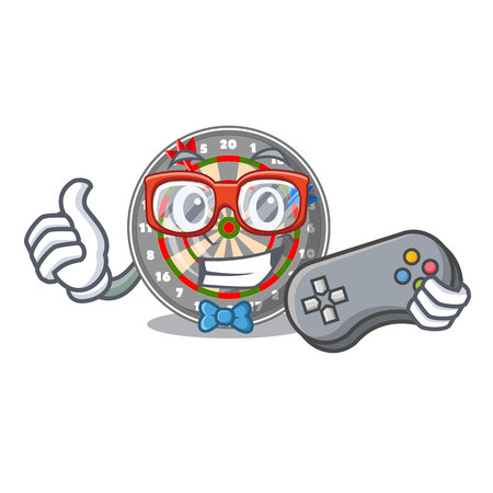 Gamer dartcoard isolated with in the character vector illustration Illustration