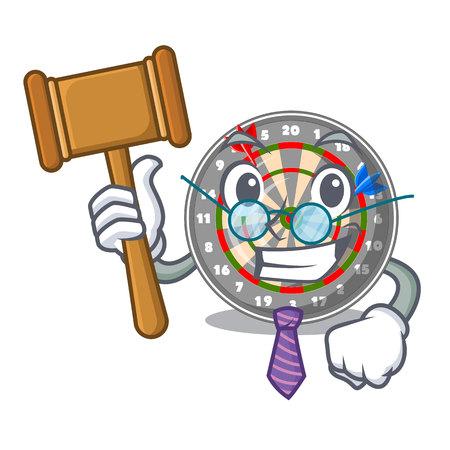 Judge cartoon dartcoard next to wooden table vector illustration