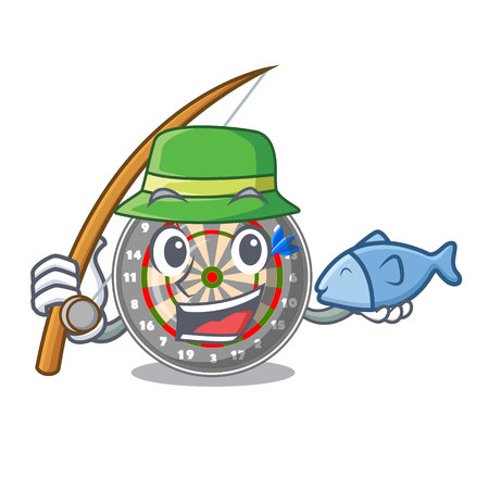 Fishing dartcoard isolated with in the character vector illustration