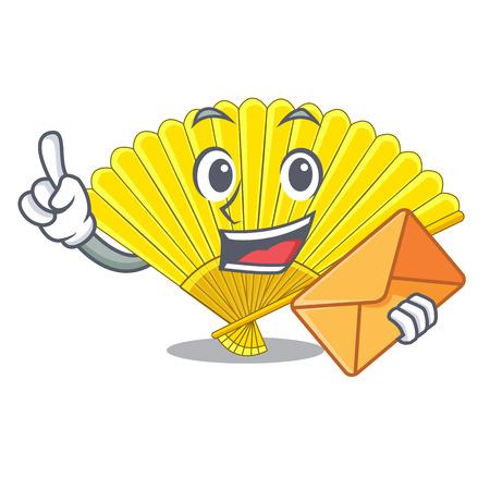 With envelope souvenir folding fan in character shape vector illustration