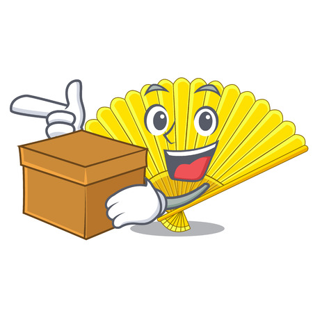 With box souvenir folding fan in character shape vector illustration