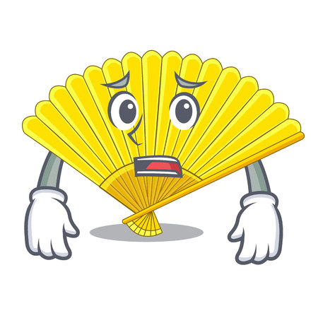 Afraid folding fan the shape wooden mascot vector illustration