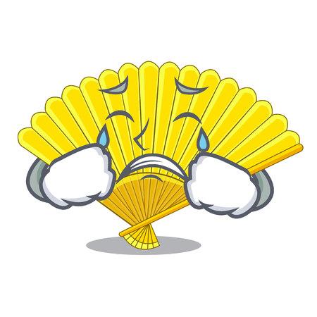 Crying folding fan the shape wooden mascot vector illustration