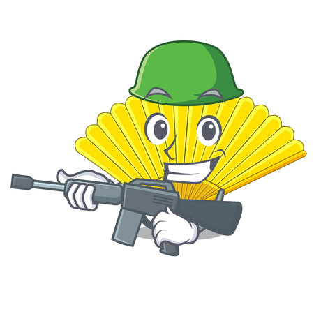 Army folding cartoon fan in the bag vector illustaration Standard-Bild - 124748291