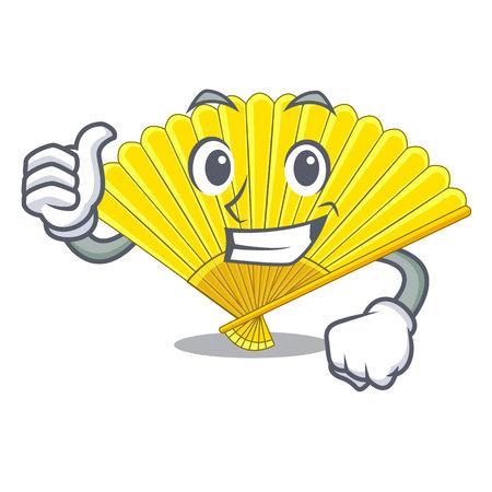 Thumbs up souvenir folding fan in character shape vector illustration Illustration