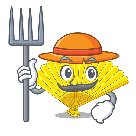 Farmer folding cartoon fan in the bag vector illustaration Standard-Bild - 124748315