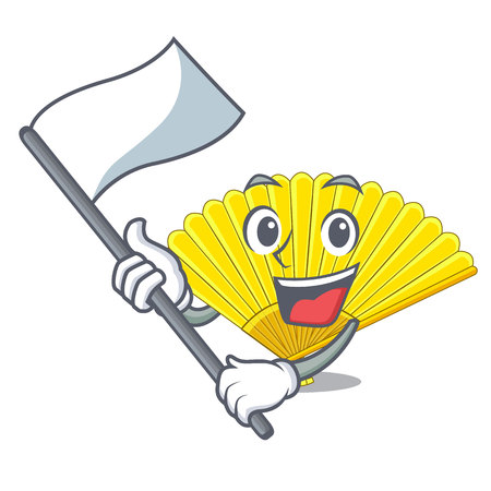 With flag folding fan isolated with the cartoon vector illustration