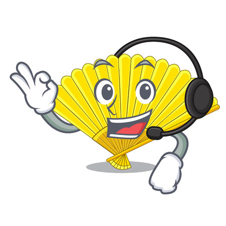 With headphone folding fan isolated with the cartoon vector illustration