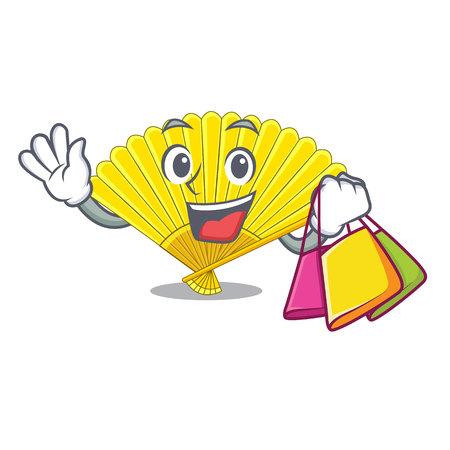 Shopping souvenir folding fan in character shape vector illustration