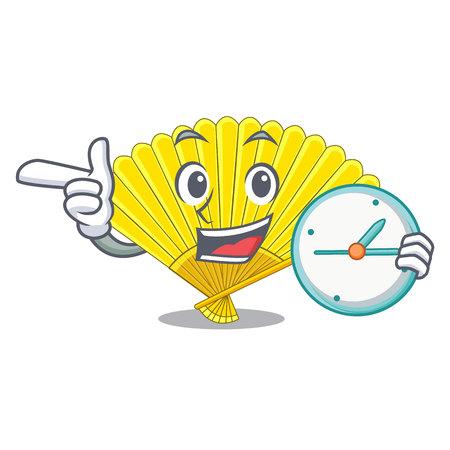 With clock souvenir folding fan in character shape vector illustration Illustration