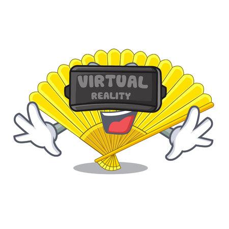 Virtual reality folding fan the shape wooden mascot vector illustration