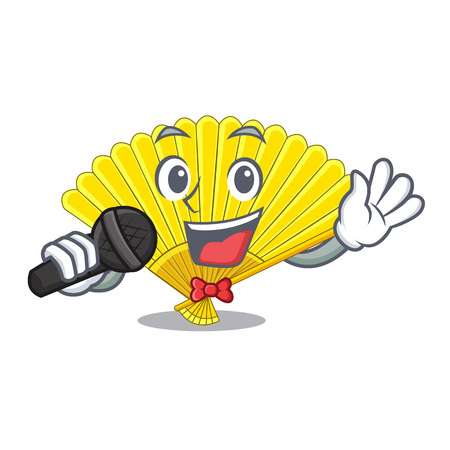 Singing folding fan the shape wooden mascot vector illustration Illustration
