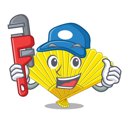 Plumber folding fan isolated with the cartoon vector illustration