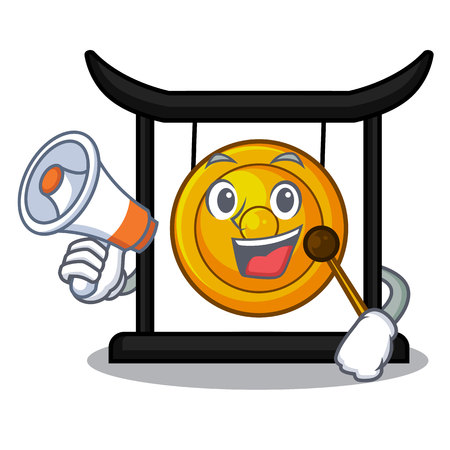 With megaphone golden gong in the character shape vector illustration 向量圖像