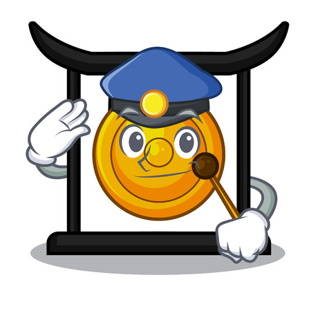Police golden gong in the character shape vector illustration