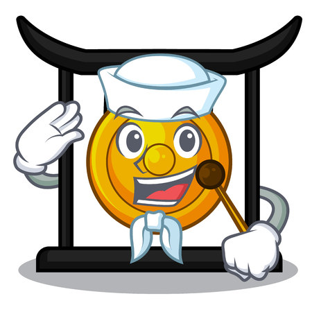 Sailor golden gong in the character shape vector illustration