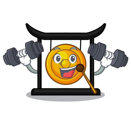 Fitness golden gong in the character shape vector illustration