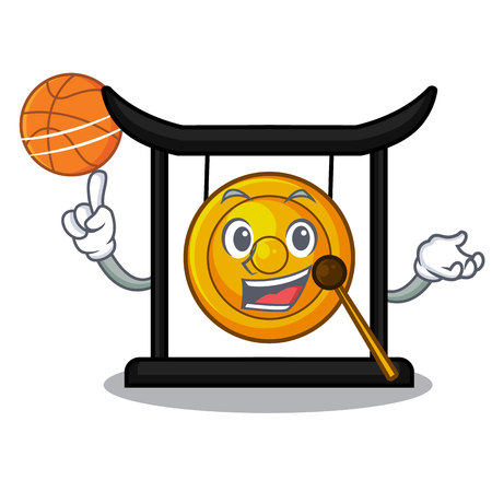With basketball golden gong in the character shape vector illustration 向量圖像