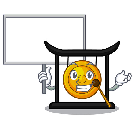 Bring board golden gong in the character shape vector illustration 向量圖像