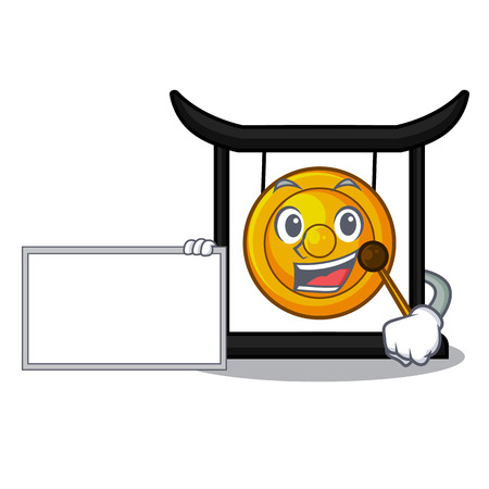 With board golden gong in the character shape vector illustration