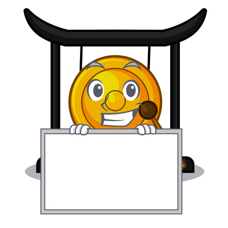 Grinning with board golden gong in the character shape vector illustration 向量圖像