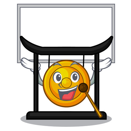Up board golden gong in the character shape vector illustration 向量圖像