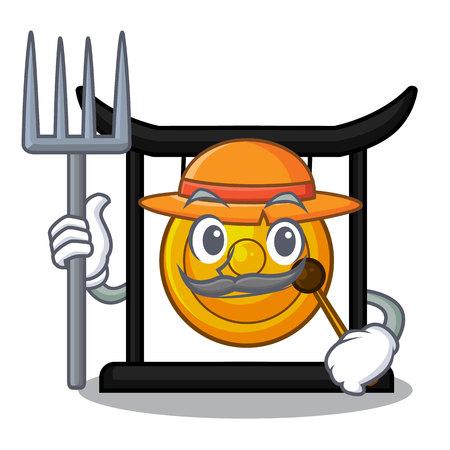 Farmer golden gong in the character shape vector illustration
