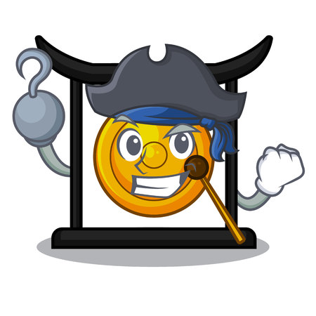 Pirate golden gong in the character shape vector illustration