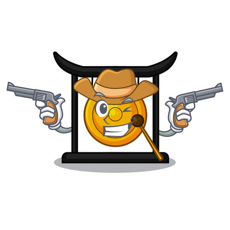Cowboy golden gong in the character shape vector illustration