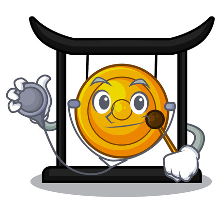 Doctor golden gong in the character shape vector illustration