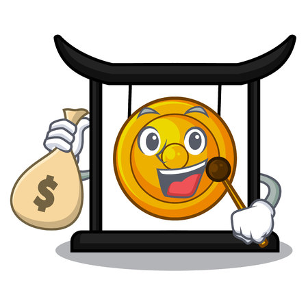 With money bag golden gong in the character shape vector illustration