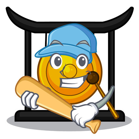 Playing baseball golden gong in the character shape vector illustration