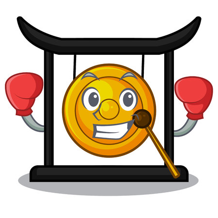 Boxing golden gong in the character shape vector illustration 向量圖像