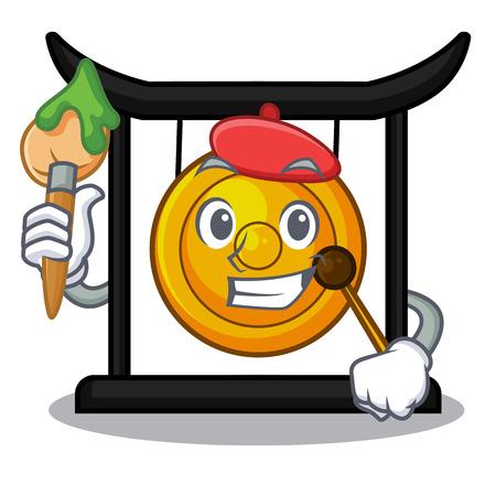 Artist golden gong in the character shape vector illustration 向量圖像