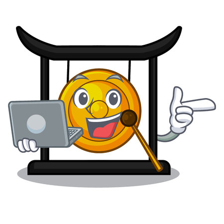 With laptop golden gong in the character shape vector illustration