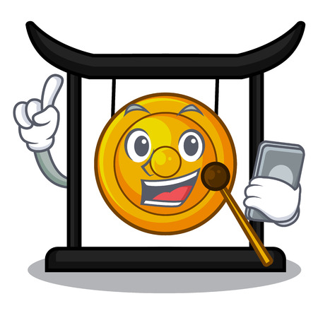With phone golden gong in the character shape vector illustration
