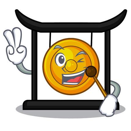 Two finger golden gong in the cartoon room vector illustration