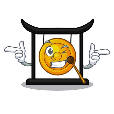 Wink golden gong in the cartoon room vector illustration Illustration