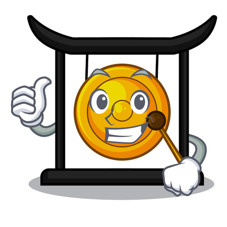 Thumbs up golden gong in the cartoon room vector illustration